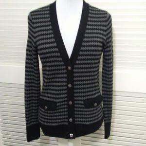 Halogen Grey and Black V Neck Button Up Cardigan
